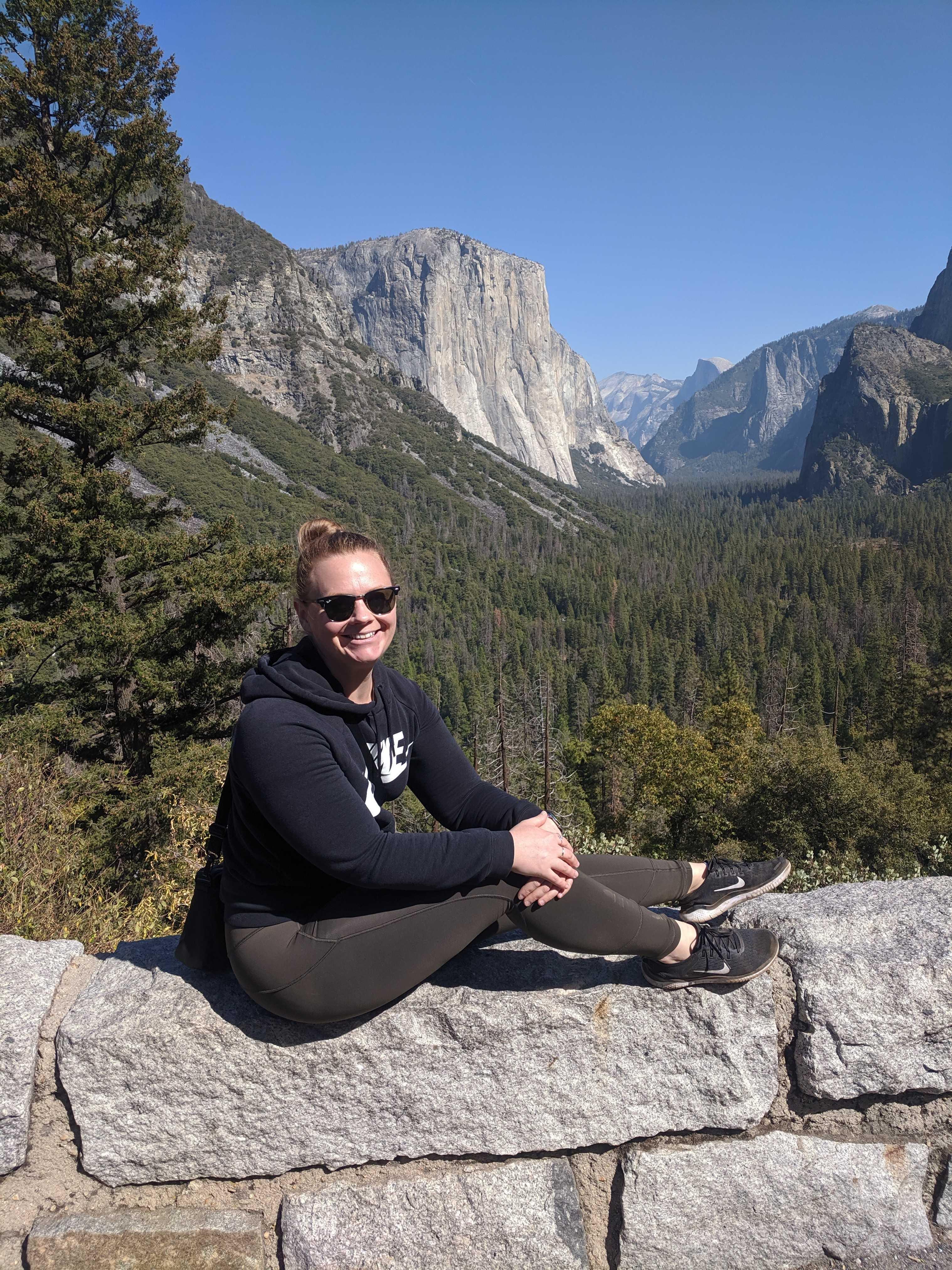 Fiona Royall sitting at Yosemite